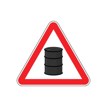 Oil Attention sign. Symbol warning of dangerous petrol barrel. Danger Road Sign red Triangle Illustration