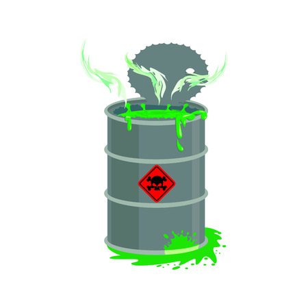 Radioactive waste barrel. Toxic refuse keg. Poisonous liquid cask. Chemical garbage emissions. environmental pollution. danger of ecological disaster Illustration