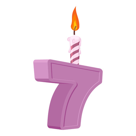 7 years birthday. Number with festive candle for holiday cake. seven Anniversary