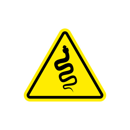 Snake Warning sign yellow. Venomous serpent Hazard attention symbol. Danger road sign triangle reptile Illustration