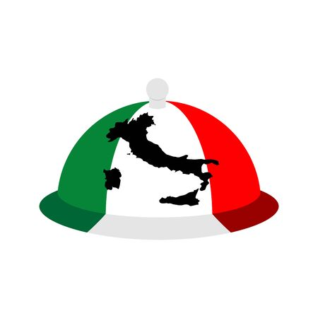country kitchen: Italy dish tray sign isolated. Food Italian national cuisine .