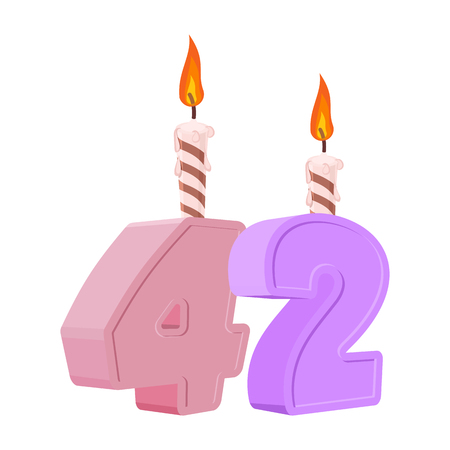 42 years birthday. Number with festive candle for holiday cake. Forty-two Anniversary