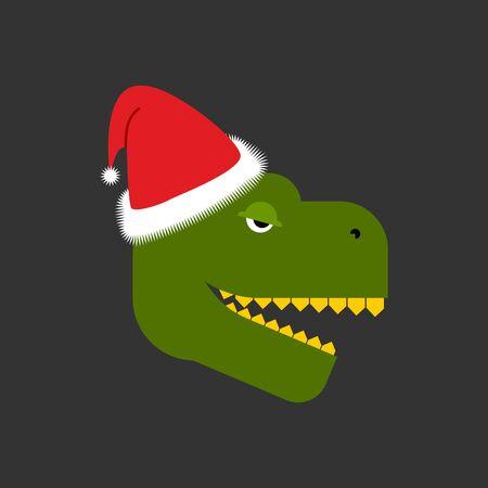 Dino Santa. Tyrannosaurus and Claus cap. Red hat and dinosaur. Christmas ancient predator