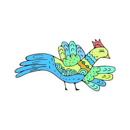 Doodle des oiseaux. Main ethnique dessin birdie isolé