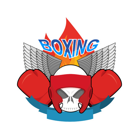 Boxing . Sports emblem. Skull and boxing gloves. Protective helmet. Sign for sports team and club