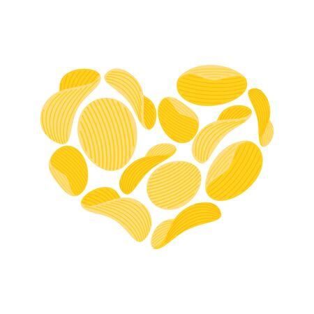 I love chips. collations coeur isolé. J'aime la nourriture