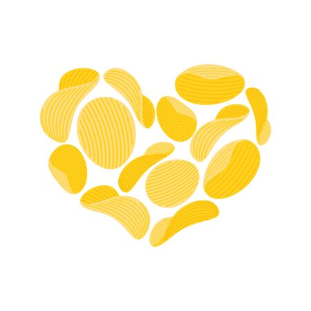 potato chips: I love Potato chips. snacks heart isolated. I like Food