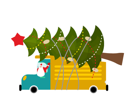 Santa Claus in truck with tree. Holiday car. New Year Machine Stock Illustratie