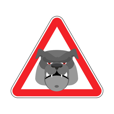 hazardous imperil: Angry Dog Warning sign red. Bulldog Hazard attention symbol. Danger road sign triangle pet