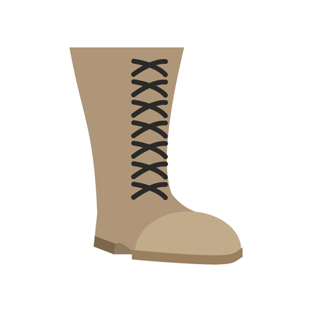 foot soldier: Military boots beige isolated. Army shoes on white background. soldiers footwear
