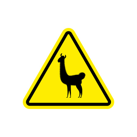 Lama Warning sign yellow. llama Hazard attention symbol. Danger road sign triangle animal Illustration