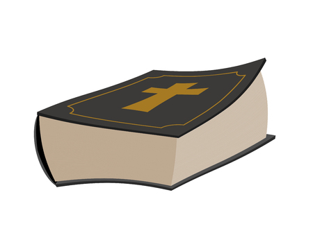 Bible isolated. Holy book on white background. Psalms with cross Illustration