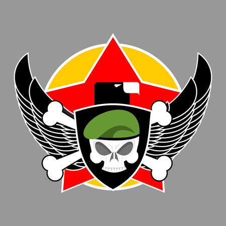 troops: Military emblem. Army . Soldiers badge. Skull in beret. Wings and weapons. Eagle and guns. Awesome sign for troops. blazon commando Illustration