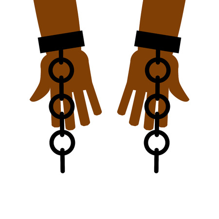 emancipation: Emancipation from slavery. break free. Chains on slave hands. Release from bondage. Illustration