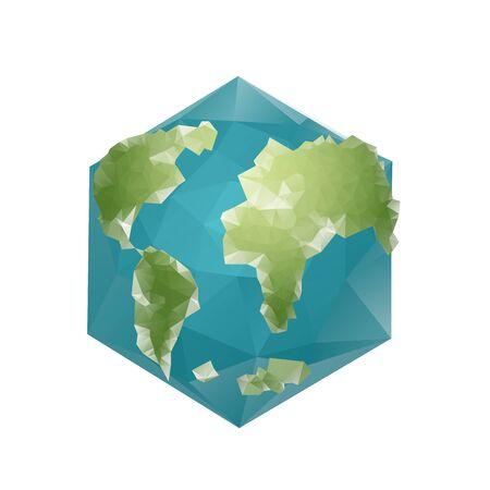 Earth Polygon. Planet geometric figure hexagon. Abstract universe.