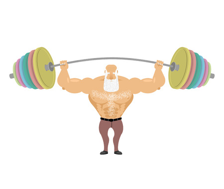 Old man Sports. Senior Man athlete and barbell. Strong grandfather fitness. Powerful greybeard with white beard Illustration