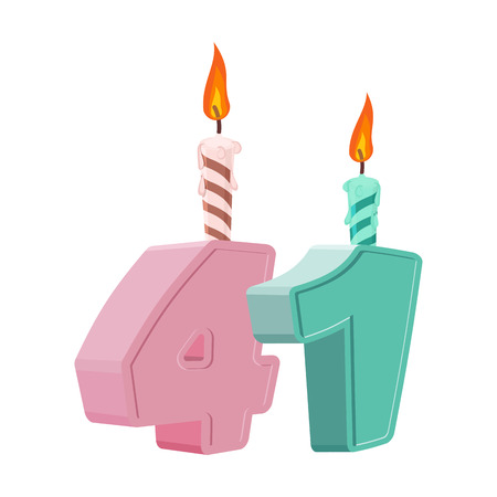 41 years birthday. Number with festive candle for holiday cake. Forty one Anniversary