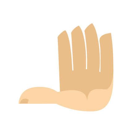 Five fingers hand isolated. Palm on white background Illustration