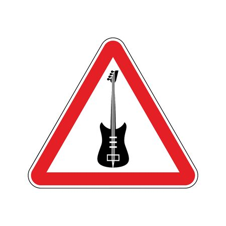 Rock and roll Warning sign. Caution rock music. Danger road symbol red triangle. Electro guitar emblem