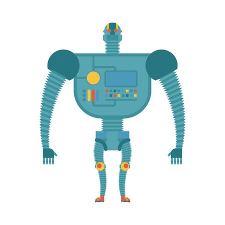 humanoid: Humanoid robot. Cyborg isolated. Electronic iron man on white background. Artificial intelligence Illustration