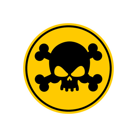 poison sign: Danger Poison sign yellow. Attention toxic hazard. Warning sign acid pollution