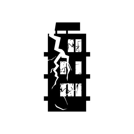 Verwoest gebouw aardbeving. Gebroken huis oorlog. geruïneerde architectuur. Scheuren en splinters van de sloop faciliteit. spontane ramp Stock Illustratie