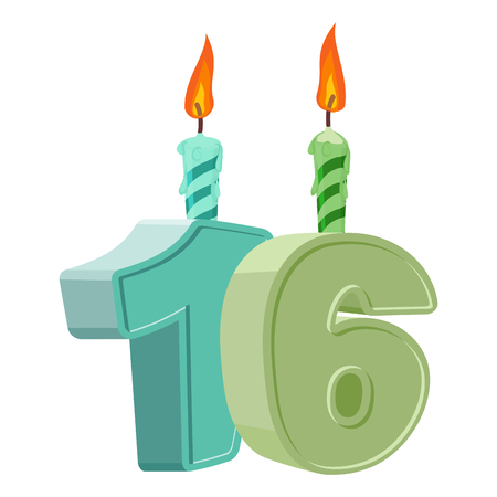 16 years birthday. Number with festive candle for holiday cake. sixteen Anniversary Illustration