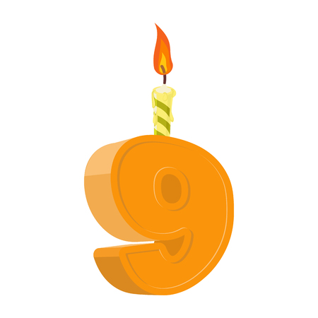 9 years birthday. Number with festive candle for holiday cake. nine Anniversary Ilustração