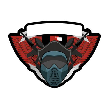 Paintball . Military emblem. Army sign. Helmet and weapons. Awesome badge for sports teams and clubs