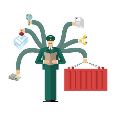 Servicio de Aduanas de Rusia en el trabajo. trabajo oficial. Comprobación de la carga. Entrega y pesaje. Declaración y el acuerdo. Control de pasaportes Ilustración de vector