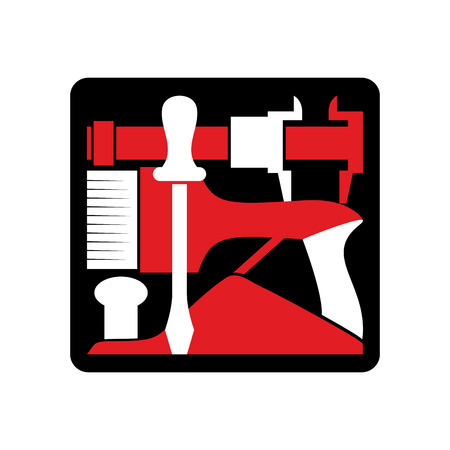locksmith: Repair logo. Repairs Tool emblem. Instrument sign. Industrial locksmith Tools Illustration