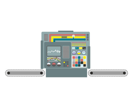 Industrial machine. Construction equipment factory. Panel production control system. Industrial group. Buttons and screens and sensors.