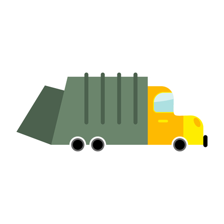 dumptruck: Grbage truck isolated. Trash automobile on white background. Junk Car in cartoon style