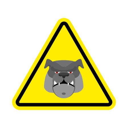harm: Angry Dog Warning sign yellow. Bulldog Hazard attention symbol. Danger road sign triangle pet