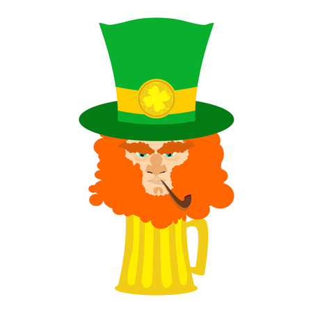 leprachaun: Leprechaun with red beard and beer. St. Patricks Day character. Irish holiday