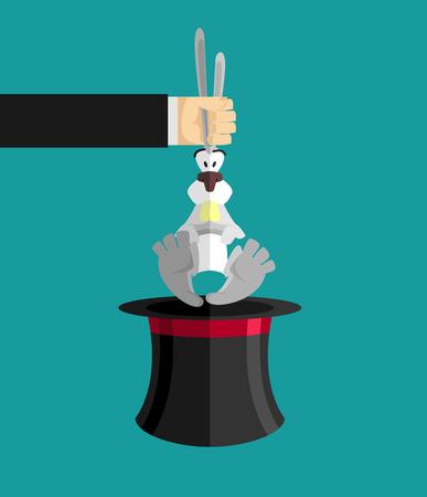 abracadabra: Magic trick rabbit in hat. Magical cap and bunny. animal illusionist Illustration