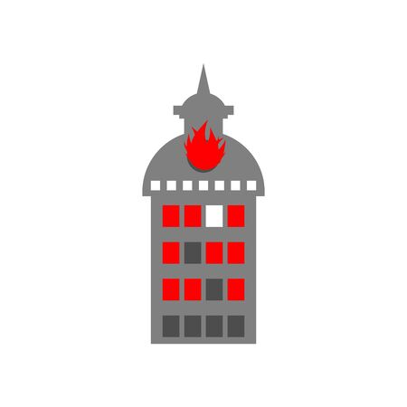 conflagration: Arson home. Fire in building. Flames from office windows. Burn facility. Spontaneous disaster. Apocalypse on earth Illustration