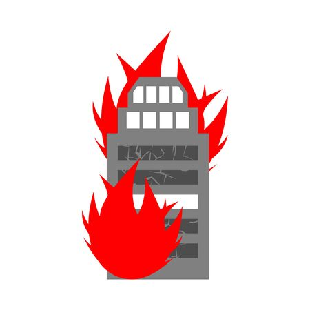 Arson home. Fire in building. Flames from office windows. Burn facility. Spontaneous disaster. Apocalypse on earth Illustration