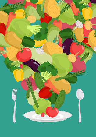 food plate: Vegetables on plate. Vegetable dish. Vegetarian food.