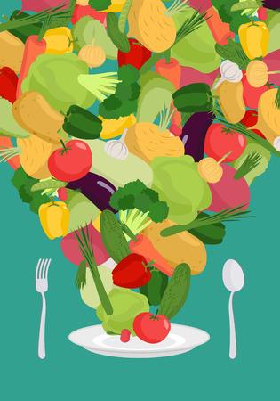 Verdure sul piatto. piatto di verdure. Cibo vegetariano.