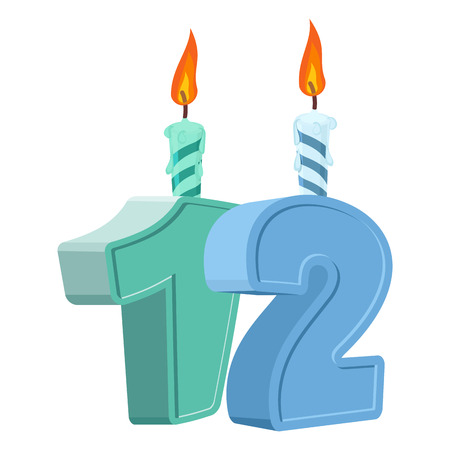 number 12: 12 years birthday. Number with festive candle for holiday cake. twelve Anniversary Illustration