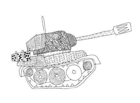 scratchy: Tank doodle. Fighting war machine. army panzer Illustration