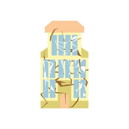 devastation: Hurricane demolition building. Broken house war. Earthquake ruined architecture. Cracks and splinters of Destroyed facility. spontaneous disaster Illustration