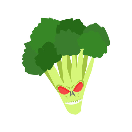 Angry broccoli. Aggressive green vegetable. Dangerous fruit Illustration