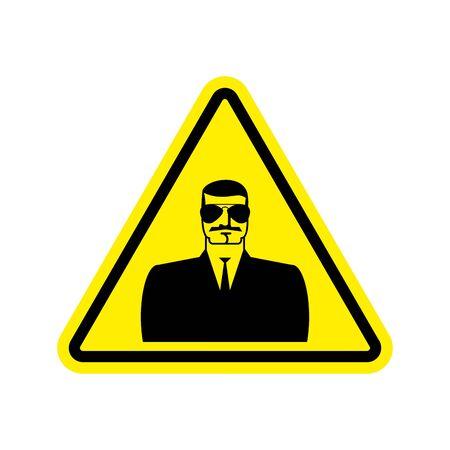 Spy Warning sign yellow. Secret Agent Hazard attention symbol. Danger road sign triangle snoop