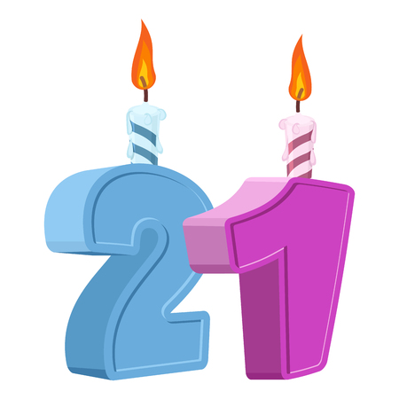 21 years birthday. Number with festive candle for holiday cake. twenty-one Anniversary Ilustração
