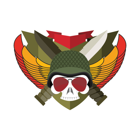 Military emblem Skull in beret.  Wings and weapons. Army . Soldiers badge. Eagle and guns. Awesome sign for troops. blazon commando