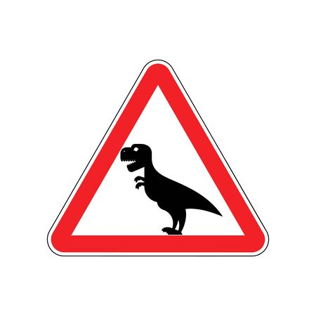 Attention dinosaur. Sign warning of dangerous predator reptile. Danger road sign red triangle. Tyrannosaurus on way. Big monster predator