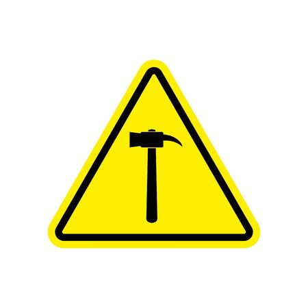Hammer Warning sign yellow. Repair Hazard attention symbol. Danger road sign triangle pounding