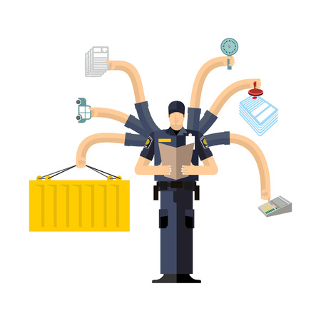 Border Services Agency work. CBSA clerk. Customs officer job. Checking of cargo. Delivery and weighing. Declaration and agreement. Passport control Illustration